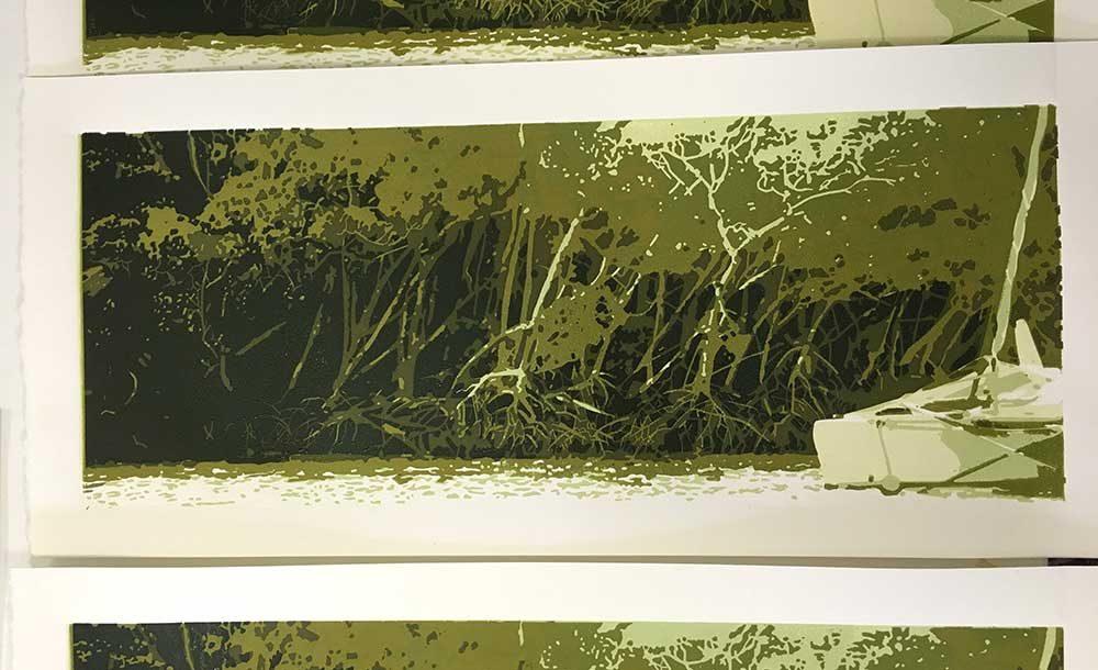 KimHerringe Anchored lino print