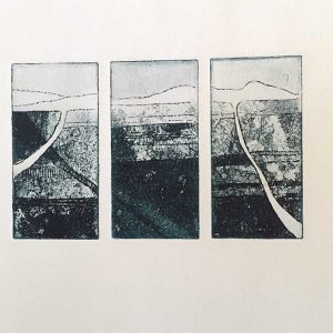 Kim Herringe Finding Home Etching triptych
