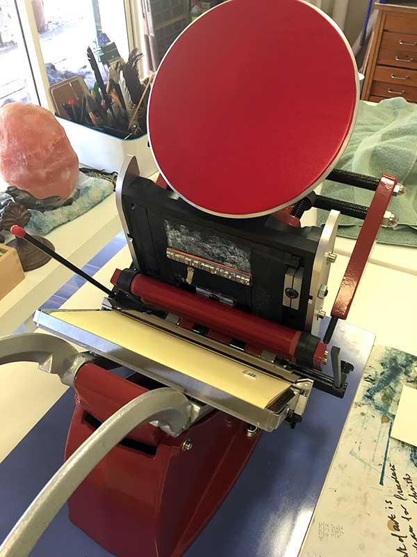 Adana 8x5 inked with Rubine Red