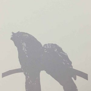 Tawny Frogmouth mother and chick reductive linoprint - 2nd colour