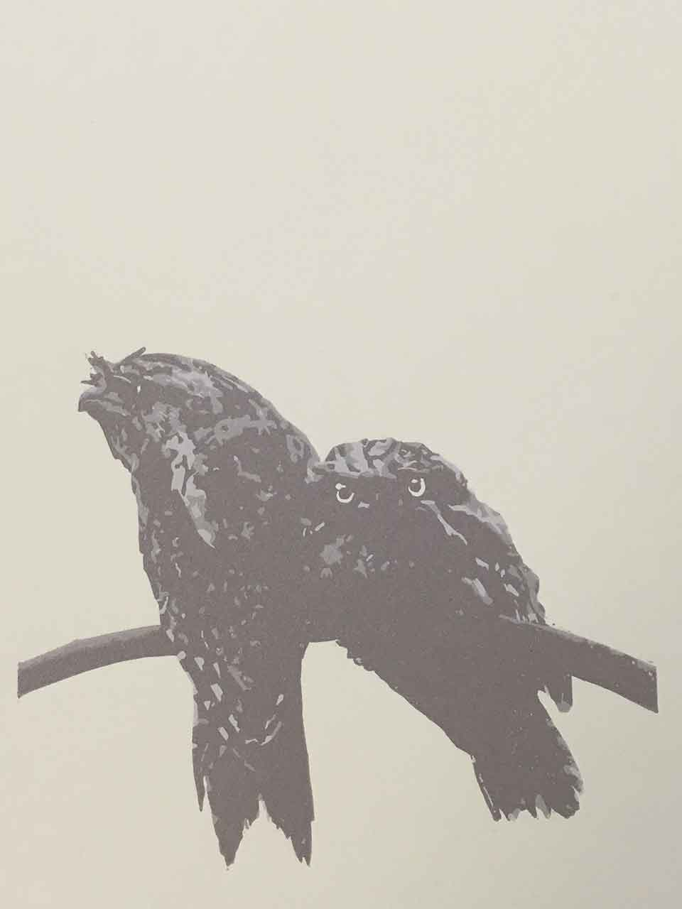Tawny Frogmouth mother and chick reductive linoprint - 3rd colour