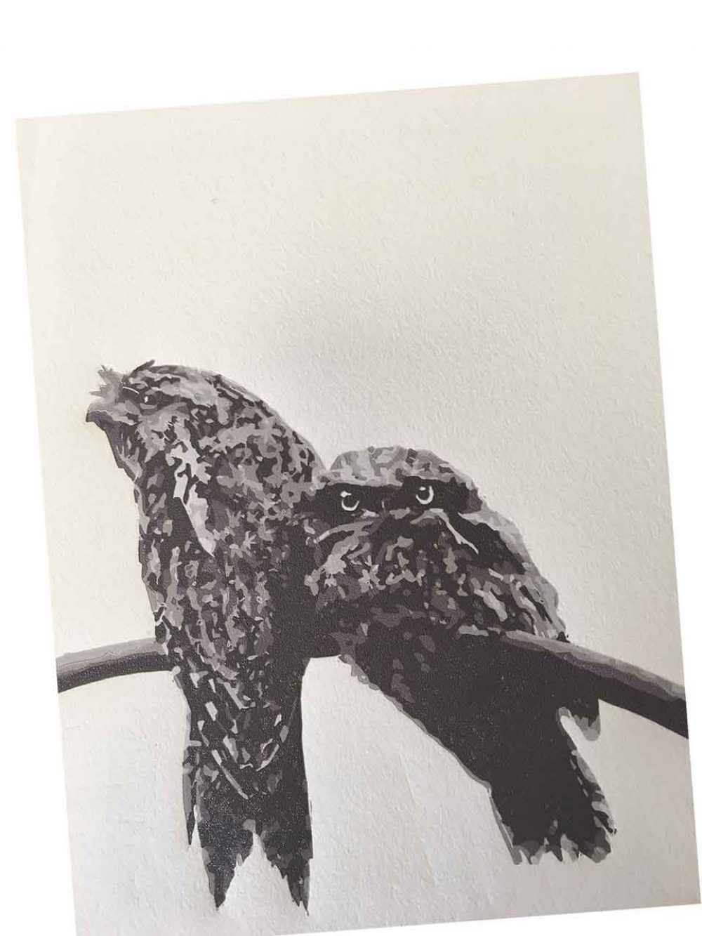 Tawny Frogmouth mother and chick reductive linoprint - 4th colour