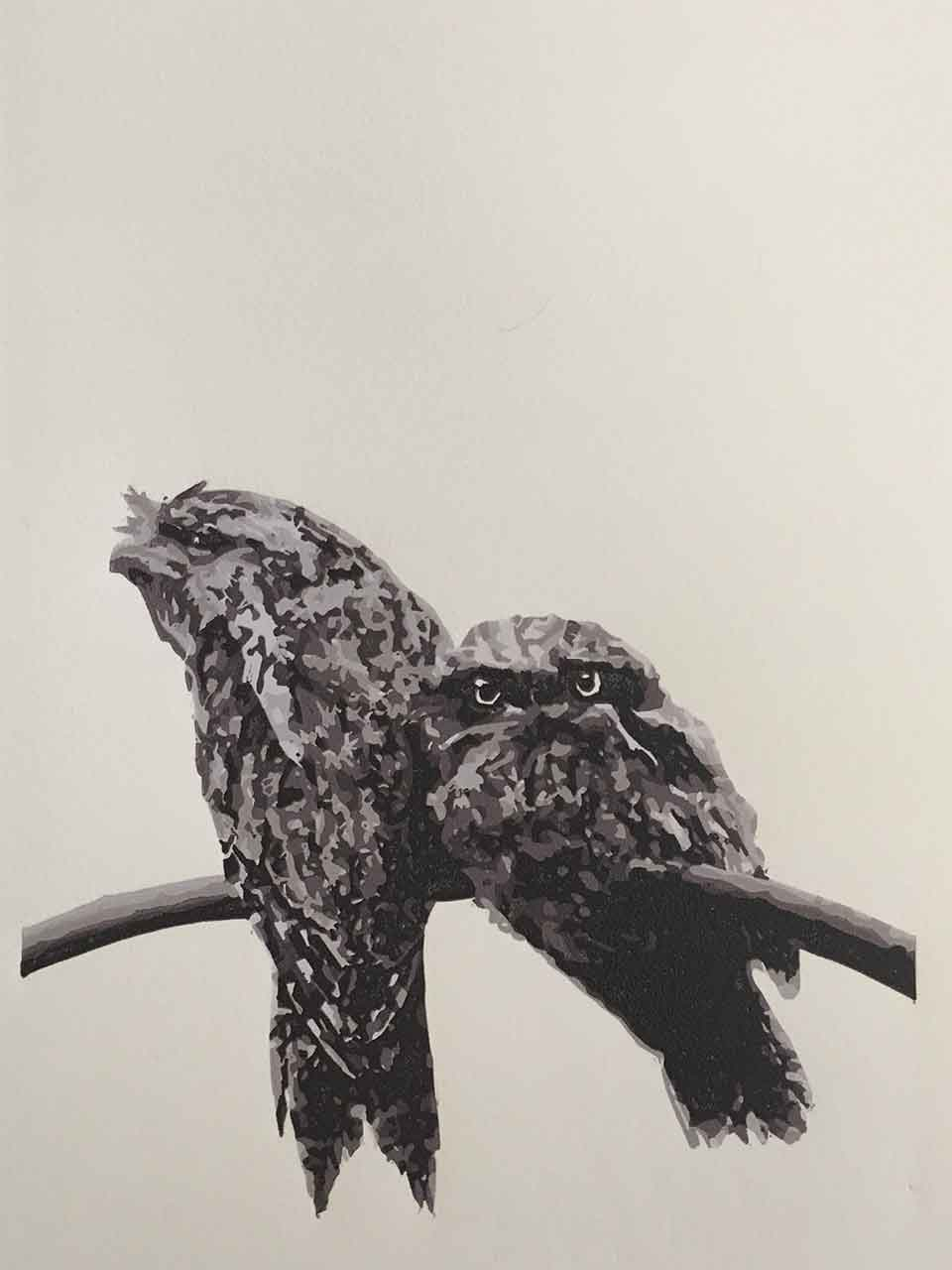 Tawny Frogmouth mother and chick reductive linoprint - 6th colour