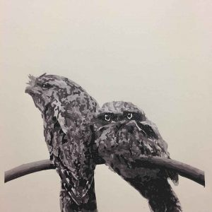 Tawny Frogmouth mother and chick reductive linoprint - 7th colour