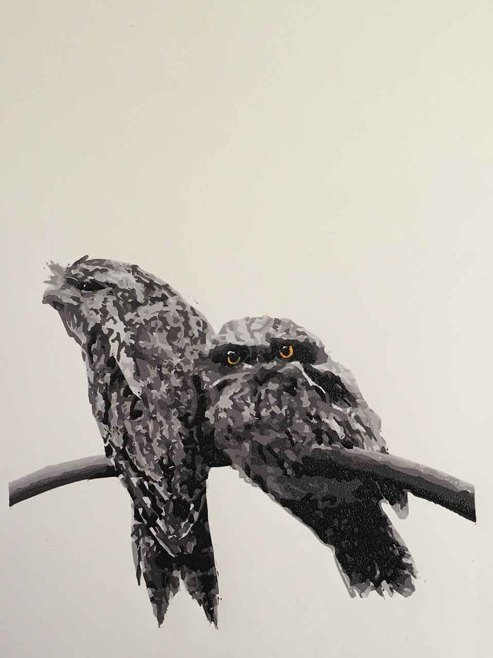 Tawny Frogmouth mother and chick reductive linoprint - finished