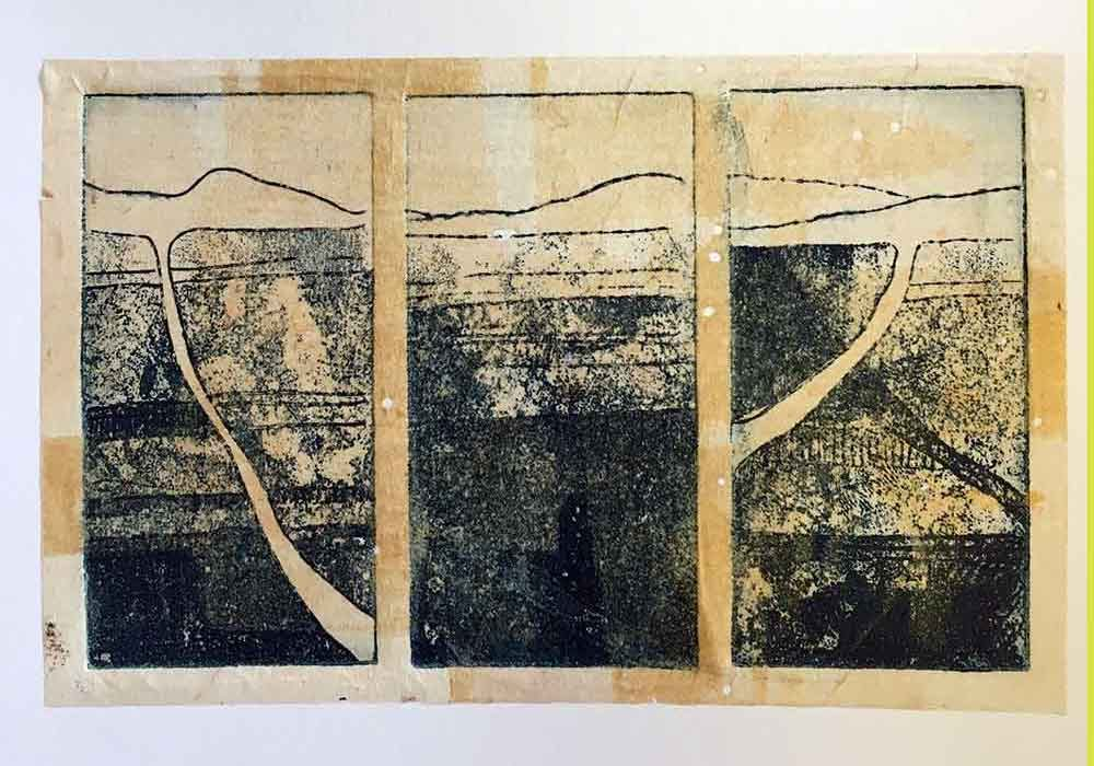 Hinterland - a copper Sulphate aluminium plate etching with chine colle