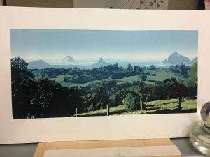 Kim Herringe Printmaker - Glass House - reductive linoprint