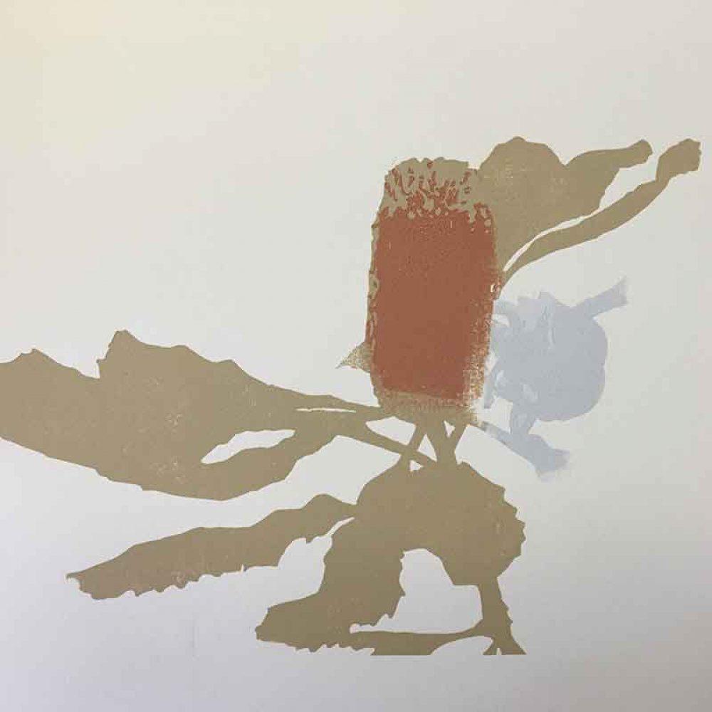 Guzzling in progress - reductive linoprint