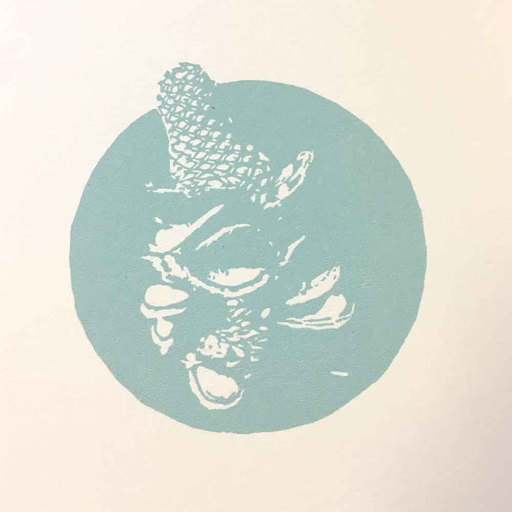 Kim Herringe reductive linoprint Bush Song