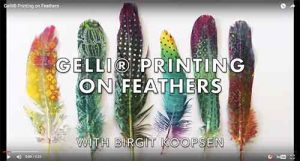 Gelli® plate printing on feathers