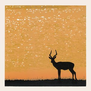 At the end of the day - reductive linoprint by Kim Herringe