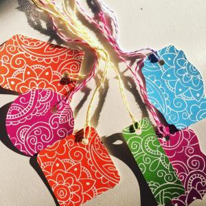 hand printed gift tags