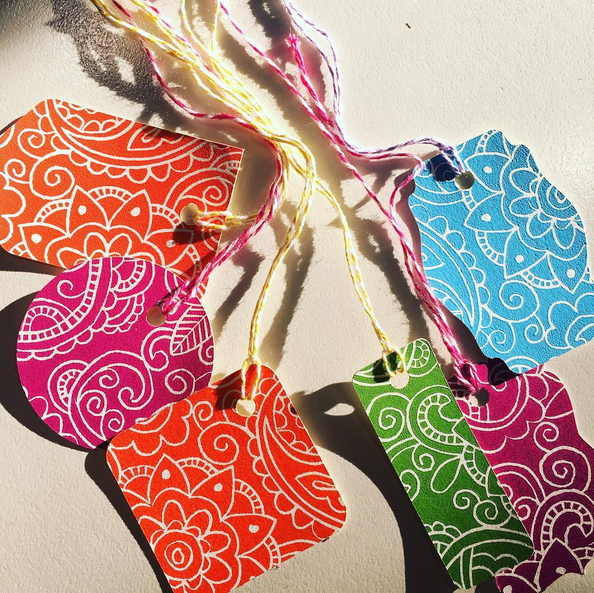 hand printed gift tags