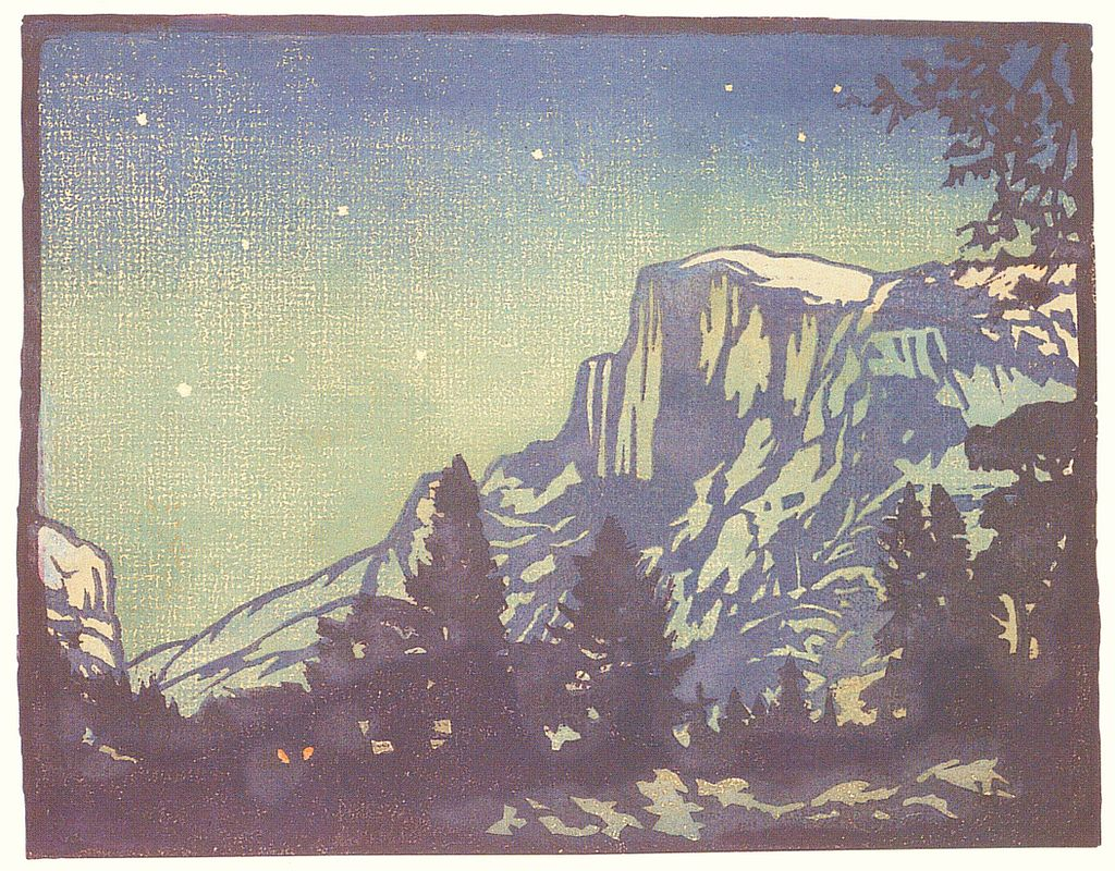 William Rice Night Yosemite woodblock print