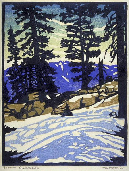 William Rice Sierra Snowbank woodblock print