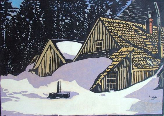 William Rice Snowed In woodblock print