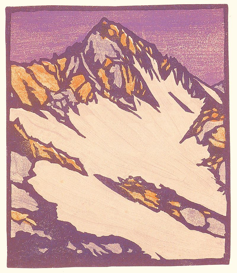 William Rice Source of the Glacier woodblock print