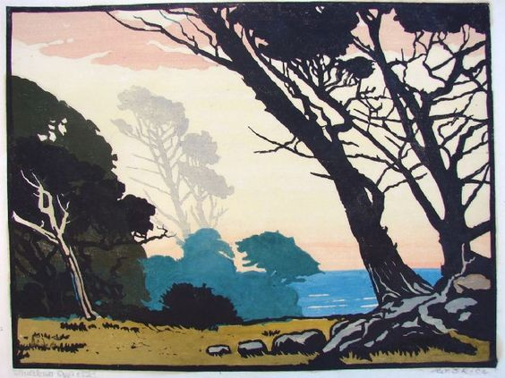 William Rice Windblown Cyprus woodblock print