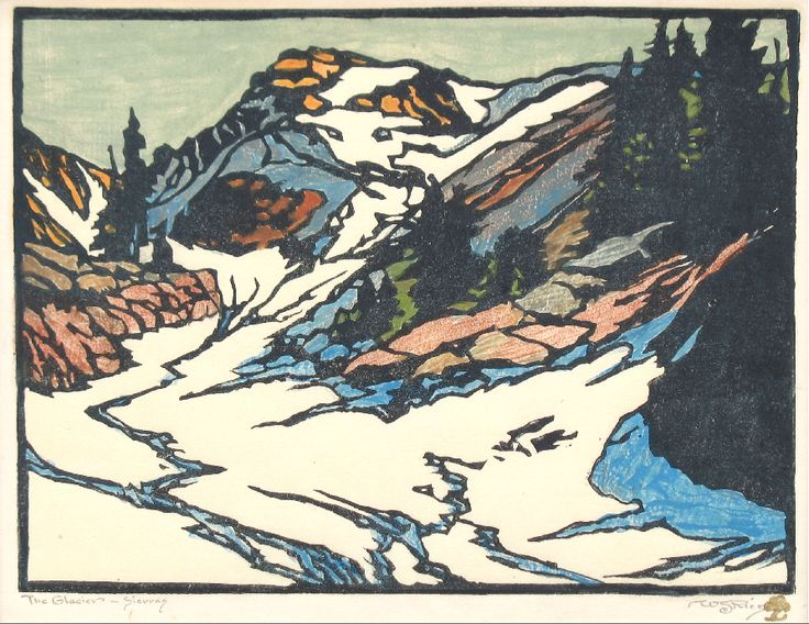 William Rice Windswept Glacier woodblock print