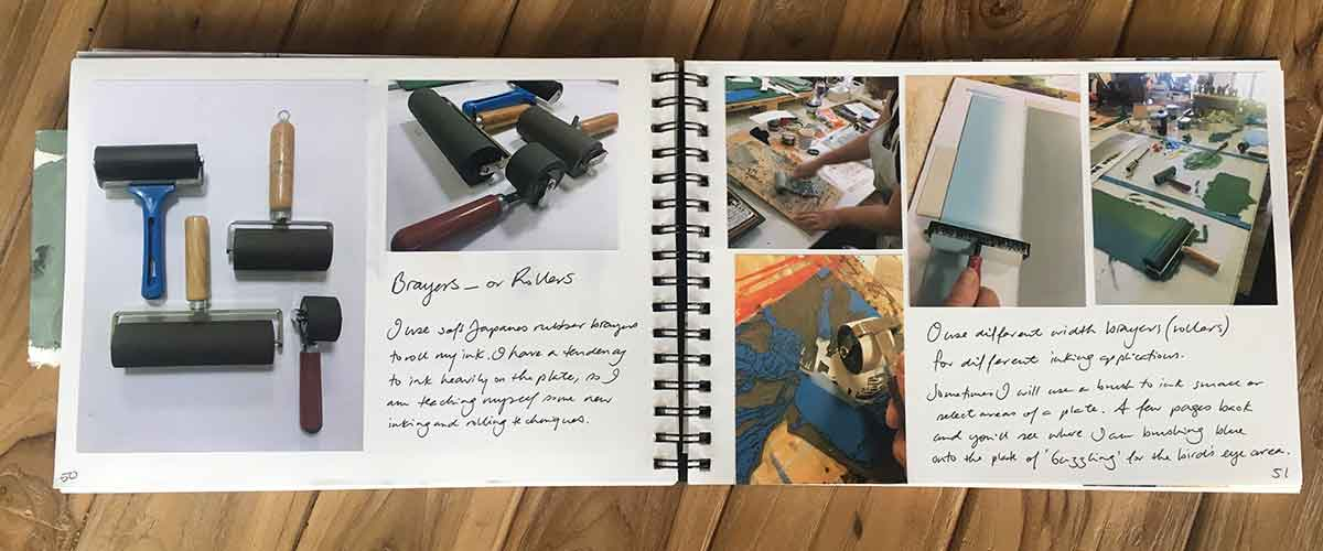 my printmaking process book - brayers and rollers - Kim Herringe