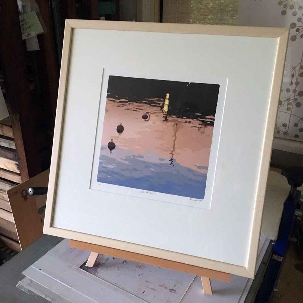 Safe Harbour reductive linoprint by Kim Herringe