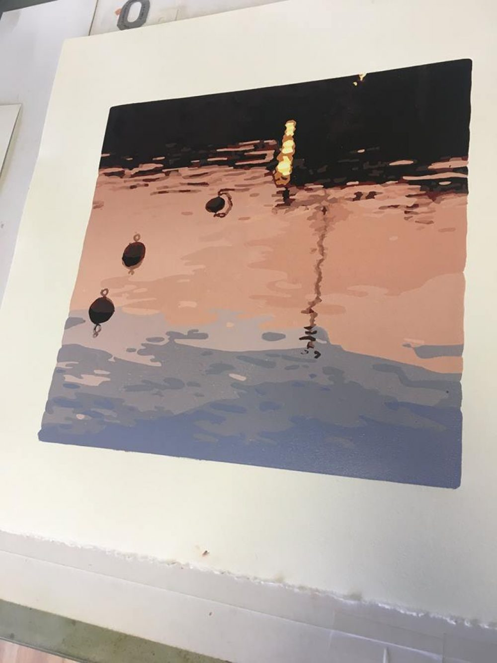 Reduction linoprint - Safe Haven, handprinted by Kim Herringe