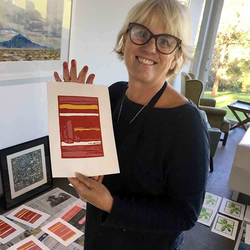 Colour and Reductive Linoprinting workshop - Rita