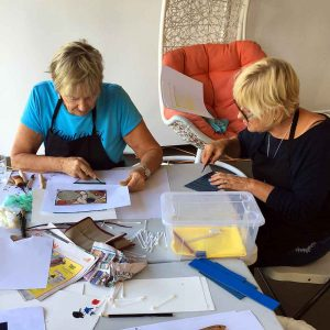 Colour and Reductive Linoprinting workshop - Sue and Rita
