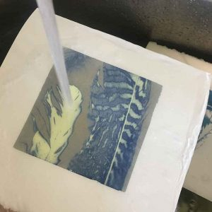 washing out your cyanotype in my studio tub of fresh water