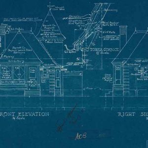 An architectural drawing blueprint, 1936