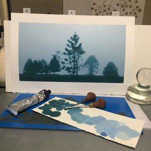 'After the Rain' reductive linoprint