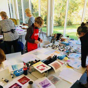 Gelatin plate printmaking workshop June 2018