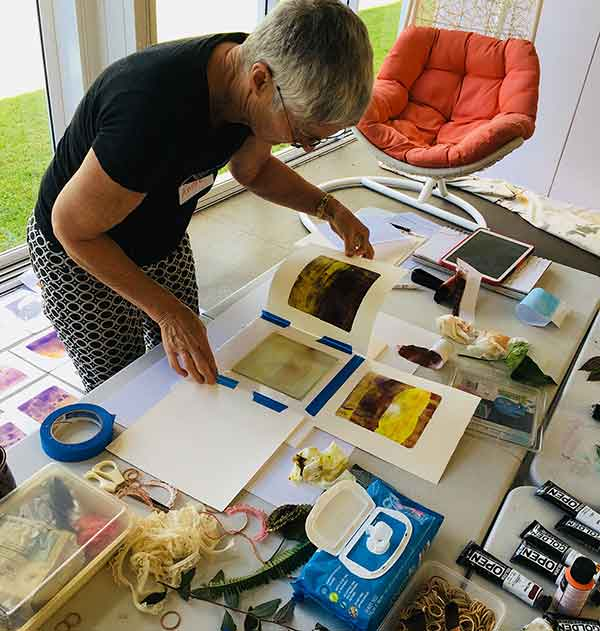 Gelatin plate printmaking workshop June 2018