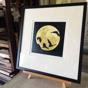 The Night Watch, reductive linoprint by Kim Herringe - Framing suggestion