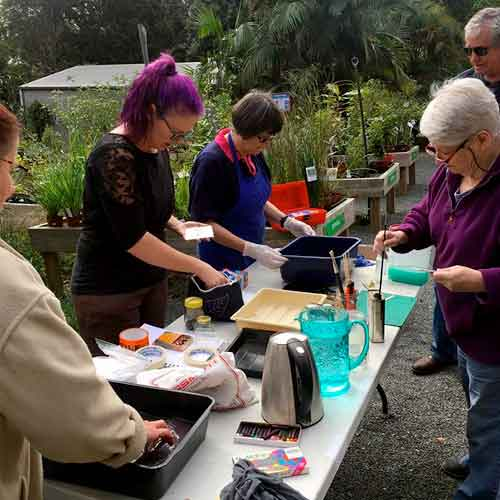 Maleny Printmakers play day - copper sulphate etching