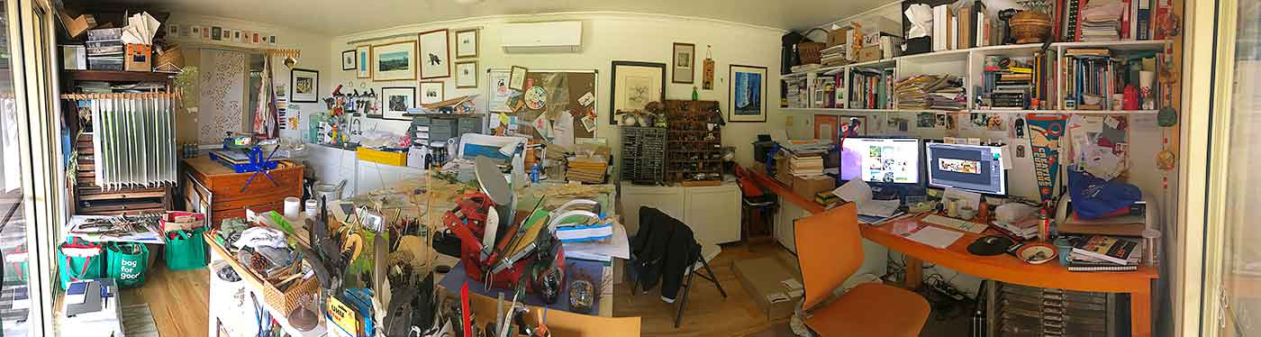 My studio December 2018, even after a tidy up!