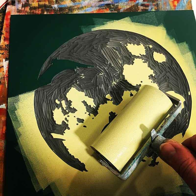 'The Night Watch' reduction linocut print in progress