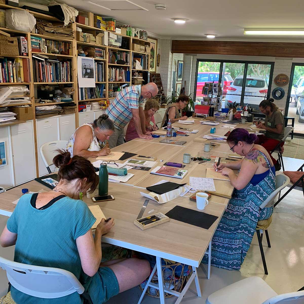 art workshops in Maleny at Kim Herringe's art studio