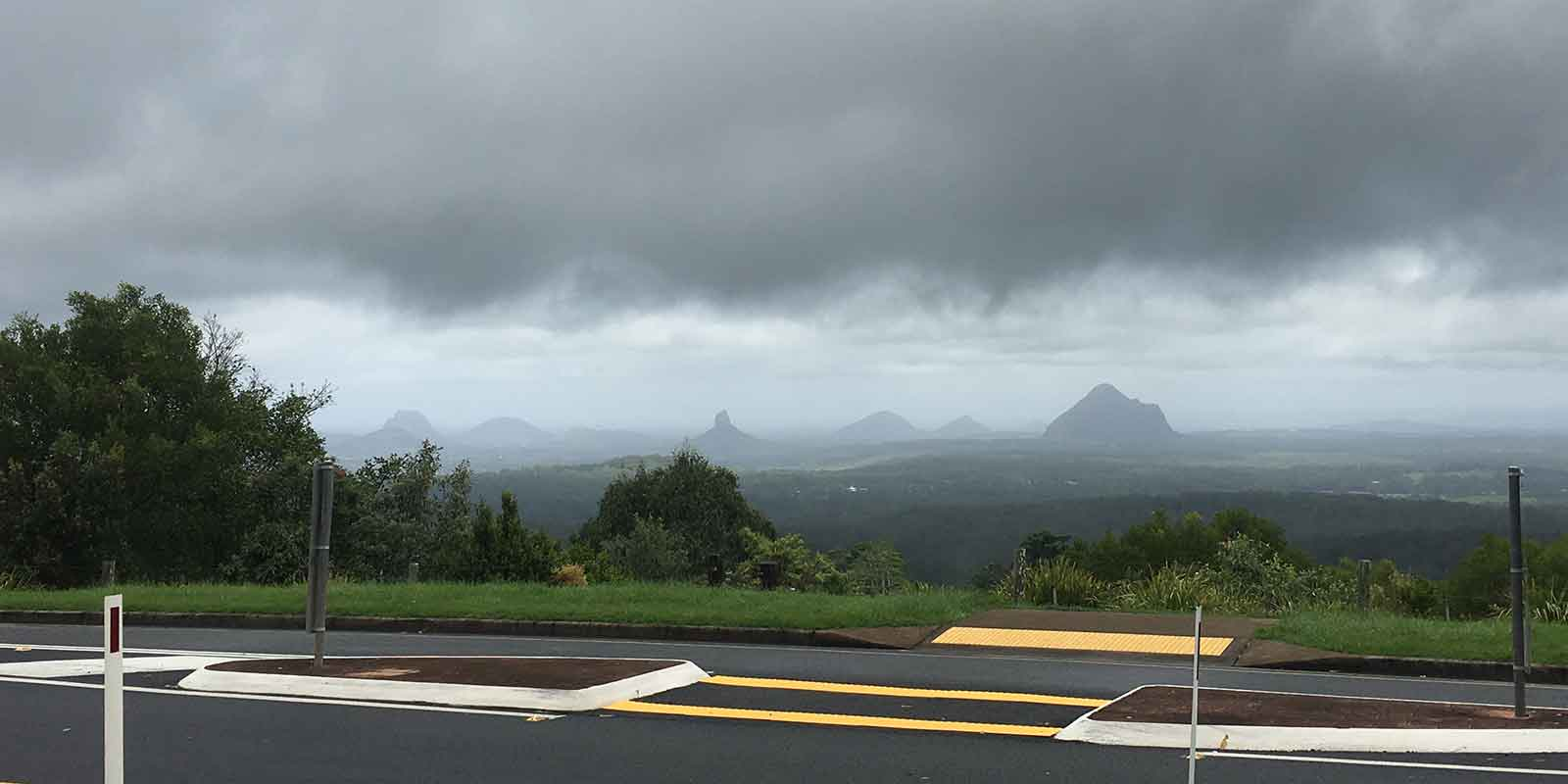 The Glass House Mountains view from Mary Cairncross