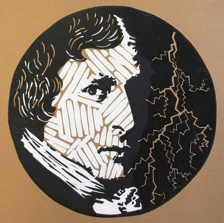 Victor Frankenstein. Alchemist. God? multblock linocut print