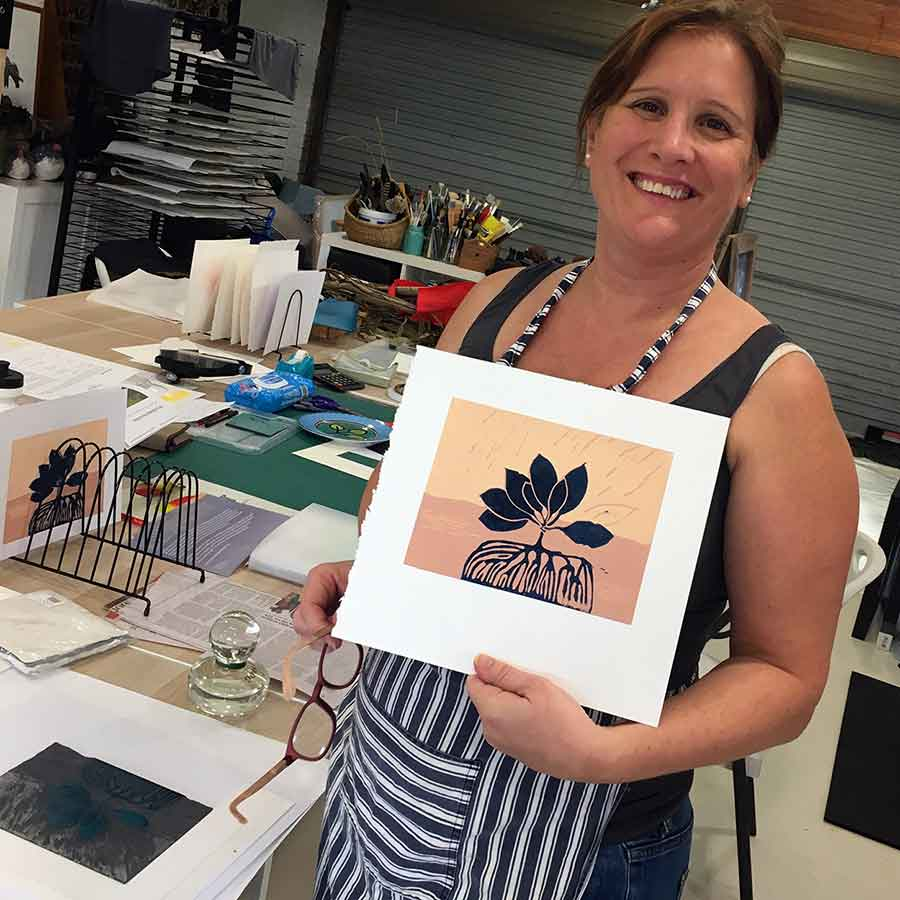 Colour and Reductive Linoprinting workshop May 2019 - Brenda