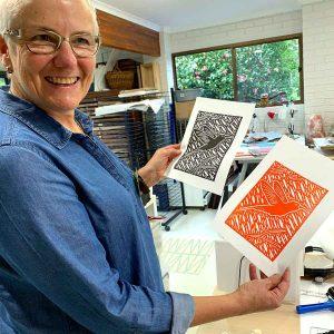 Lucille, Linoprinting 101 workshop June 2019