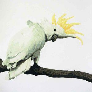 Kim Herringe 'Come with me' reduction linocut for Kyoto Hanga International Print exhibition 2019