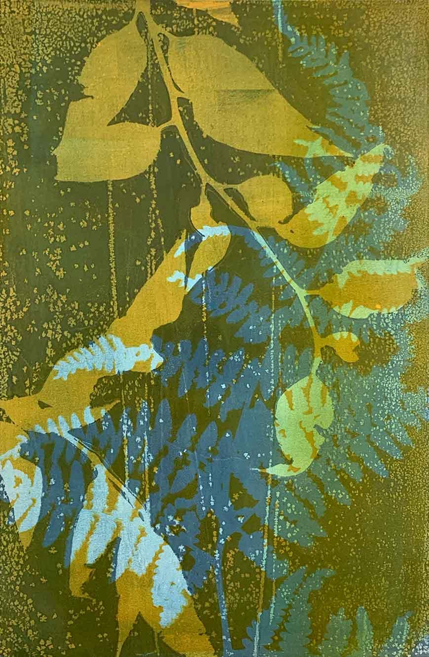 Botanical 1 - Gelatin Plate monotype print