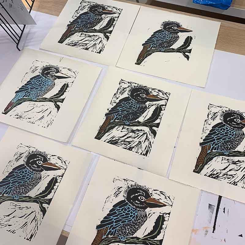 Reduction Linocut Workshop - Michelle