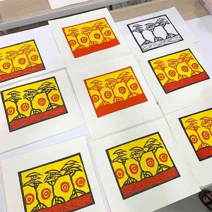 Kellie reduction linocut workshop