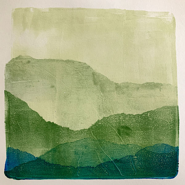 gelatin plate print mountain ranges