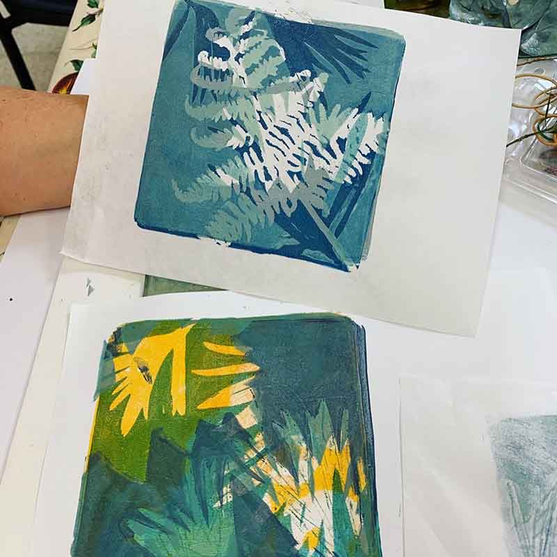 Buderim Craft Centre Textiles Group gel plate monoprinting workshop January 2020