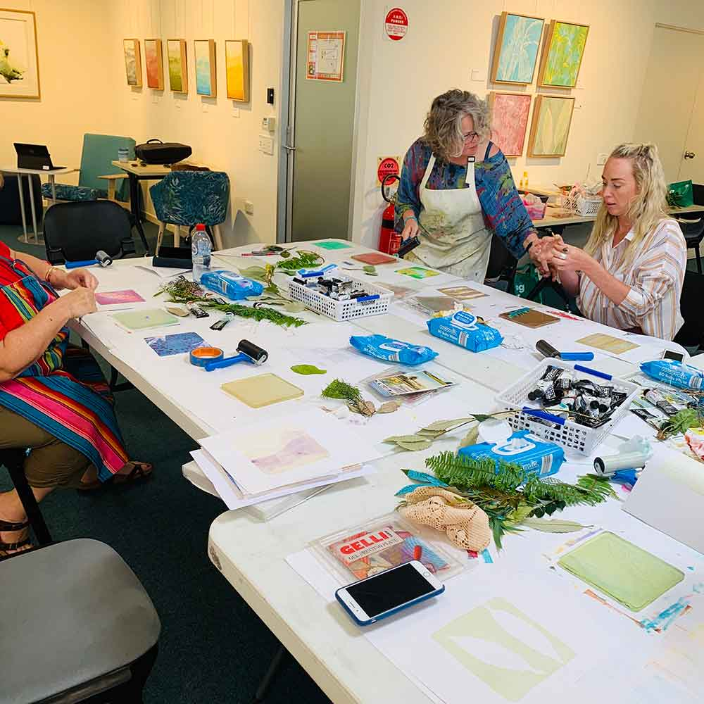 Grounded Carers group monotype workshop