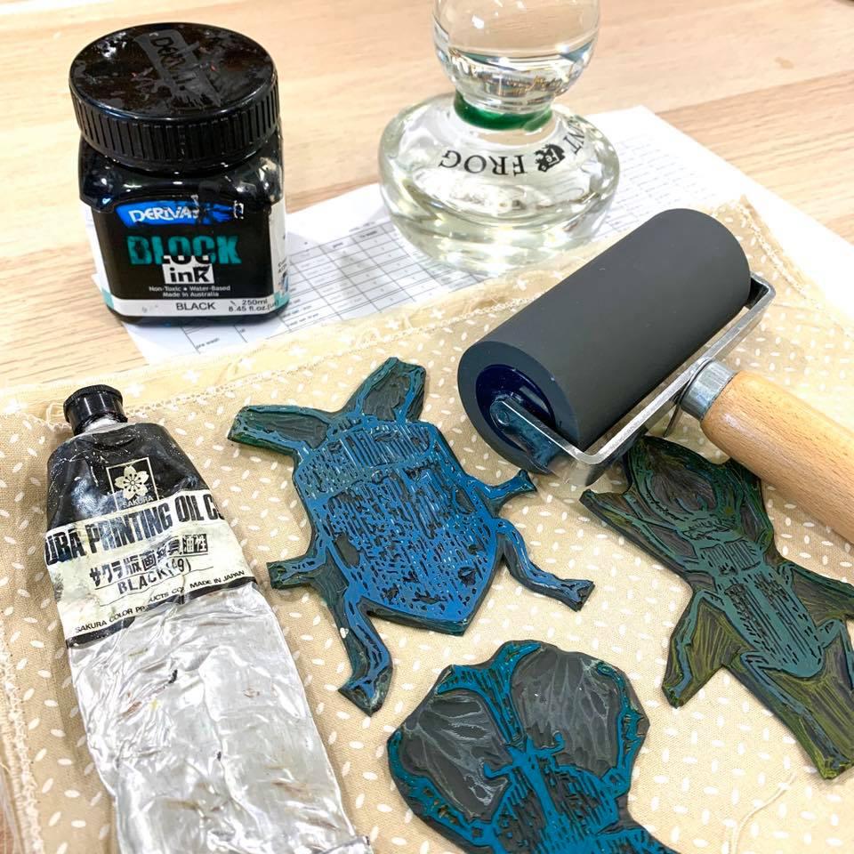 lino printing on fabric testing - getting ready